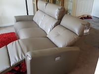 grey leather 3-seat recliner sofa