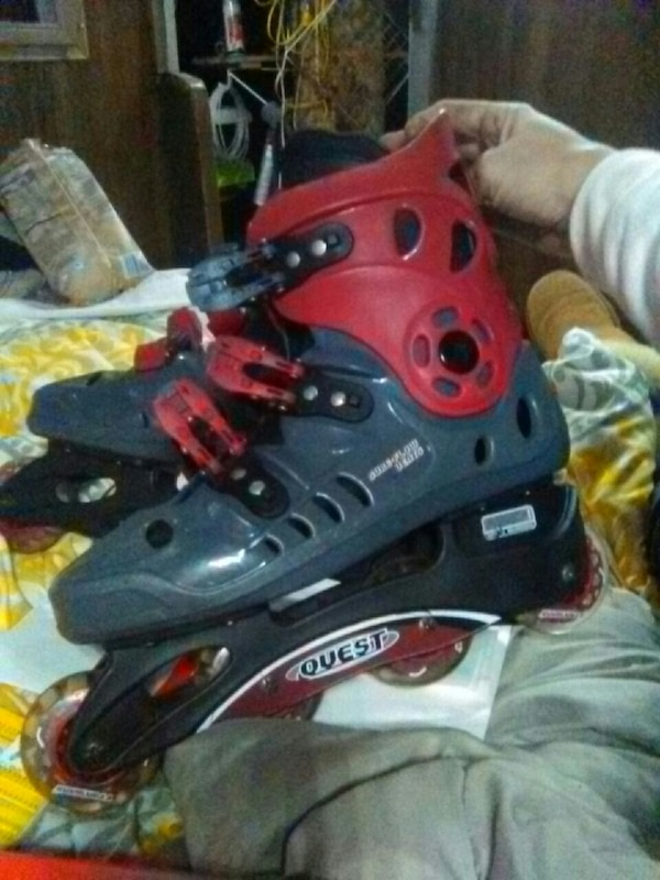red and black inline roller blades