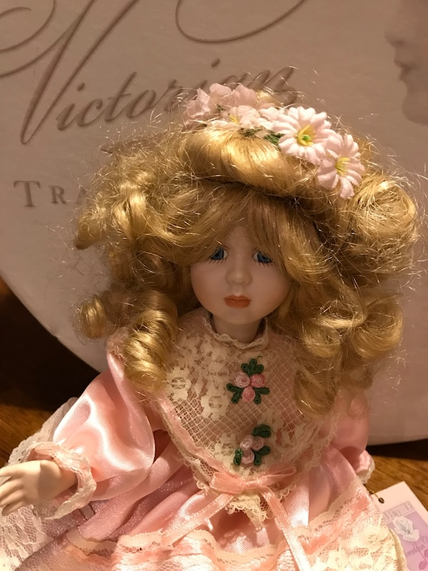 Pretty in Pink Small Victorian Porcelain Doll