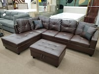 Espresso bonded leather storage ottoman sectional with accent pillows College Park
