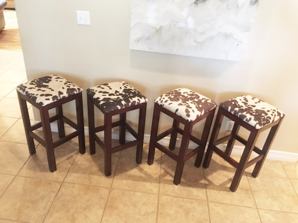 low priced 6e2ea efe42 Set of 4 Faux Cowhide Barstools