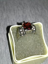 Silver Ruby Stone Ring (size 7)