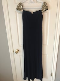 Navy gown gold cap sleeves