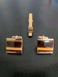 Tiger Eye Cuff links with the matching Tie clip!  Toronto, M1C 0B1
