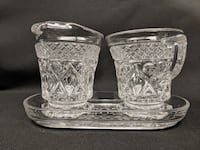 Glass Creamer & Sugar Set With Tray Essex