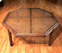 Vintage mid century bamboo glass top coffee table Burbank, 91504