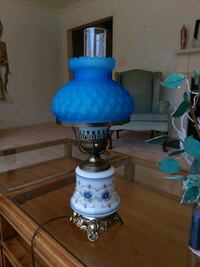 blue and white table lamp Potomac