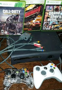 black Xbox 360 with controller and game cases Winnipeg, R3E 2C9