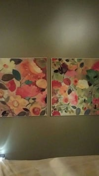 24×24in kim parker two multicolored flowers paintings