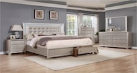 white wooden framed bedroom set