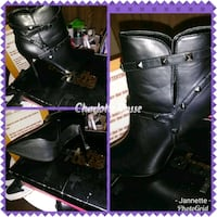 black leather knee-high heel boots with box collag 362 mi