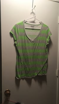 women's gray and green striped v neck shirt