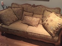 brown wooden framed brown fabric padded 3-seat sofa Oakville, L6M 5A3