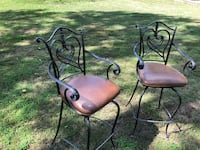 Bar stools heavy metal with leather seats Franklin