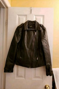 Womens Black Faux Leather Jacket Vaughan