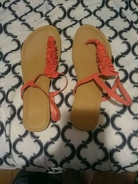 pair of brown and pink leather sandals New Cordell, 73632