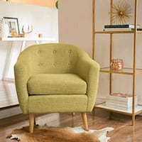 Muted Green Buttoned Fabric Club Chair Los Angeles, 91304