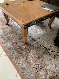 Custom cherry wood table hand painted with with round corner piece great shape Agoura Hills, 91301