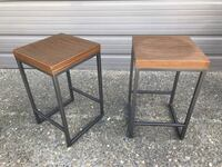 CB2 Two square brown wooden bar stools Arcade, 95608