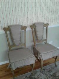 two gray padded brown wooden armchairs Prospect Heights, 60070