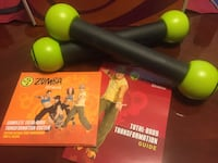 Zumba fitness workout.   DVDs & weights