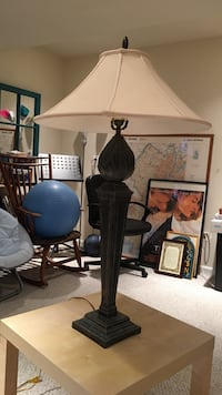 brown base white lampshade table lamp Montgomery Village, 20886