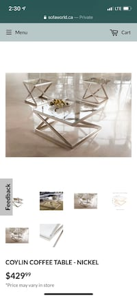 Glass Stainless Steel Coffee & Side Table