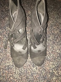 pair of gray leather open toe ankle strap heels Springfield, 01109