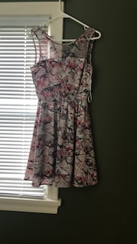 women's brown and red floral sleeveless dress Calgary