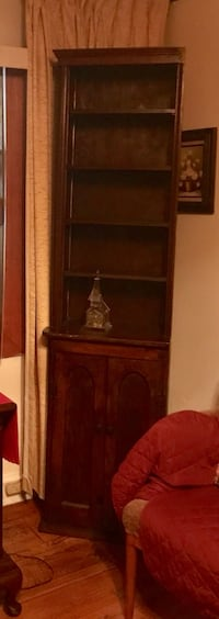 Custom made pair of wood open shelf curio cabinet