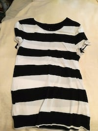white and black stripe scoop-neck dress