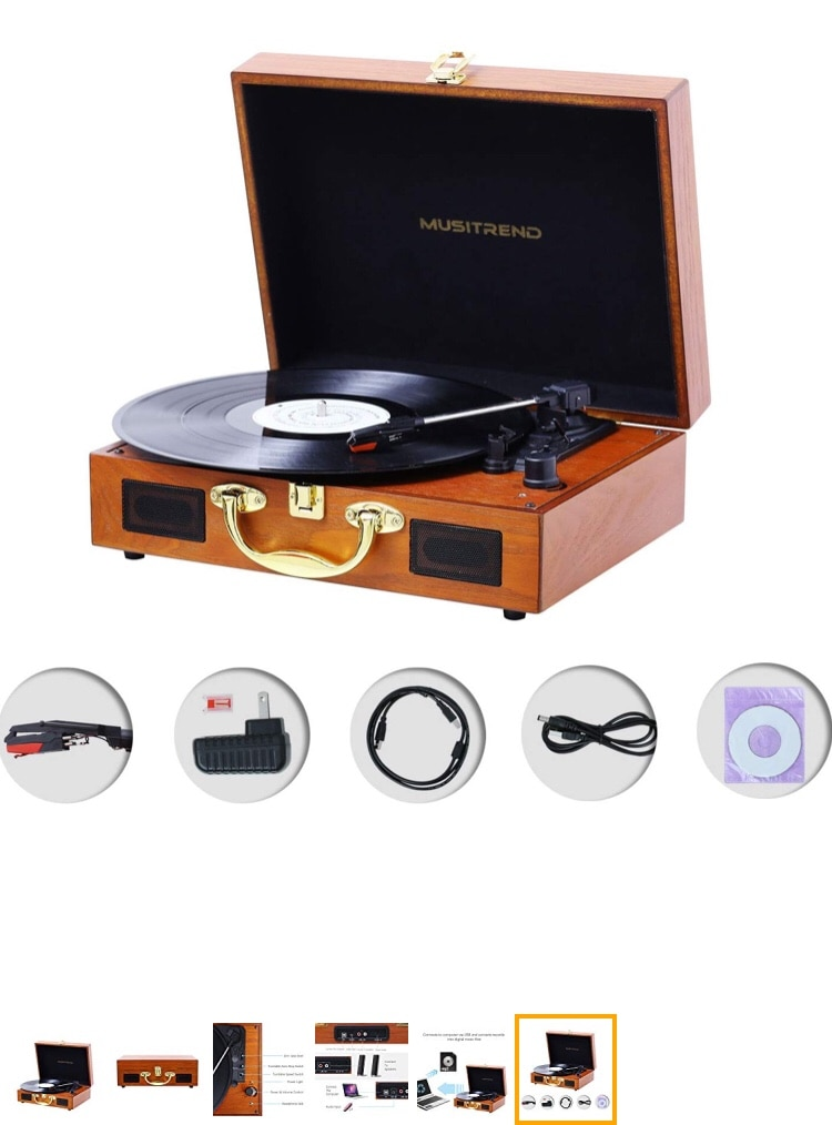 RCA line Out Musitrend Turntable Portable Suitcase Record Player ...