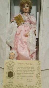 white and brown dressed porcelain doll Mississauga, L5J 2E7