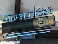 Blue silver bullet neon signage
