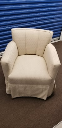 white fabric padded sofa chair Toronto