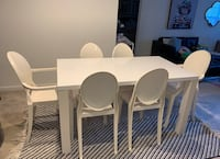 Dining table White Gloss and 6 Acrylic Ghost Chairs Shrewsbury, 01545