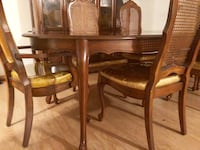round brown wooden table with six chairs dining set Pine Bush, 12566
