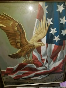 Antique           Oil painting happy veterans day