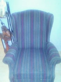 blue and red striped fabric sofa chair Laval, H7N