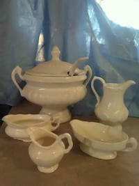 White punch bowl gravy boat and pitcher  Hebron, 46341