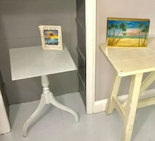 Robin's egg blue / gray chalk painted accent table