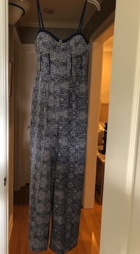 Navy and white long pant romper size M Broussard, 70518