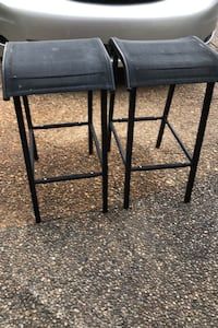 TWO BAR STOOLS METAL FRAME  WITH MESH FABRIC SEAT ($15 PAIR) H 271/2