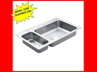 MOEN 2000 Series Drop-In Stainless Steel 33 In. 4-Hole Double Bowl Kitchen Sink BRAND NEW Plantation