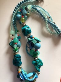 Green and blue beaded necklace Cambridge, 02138