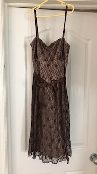 Christmas party dress cream with brown overlay Calgary, T3H 0C4