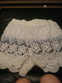 white lace knit skirt