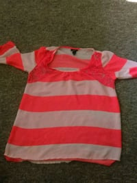 pink and white stripe crew-neck shirt Portage, 49024