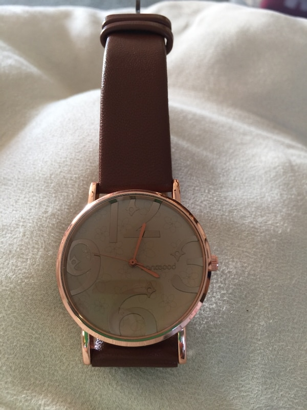 REDUCED‼ LADIES ROSE COLOR FACE & BROWN STRAP WATCH (Sandwood); Brand New! $15 ‼