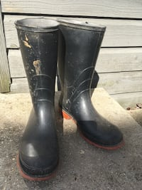 Galoshes, size 6... black with red soles.